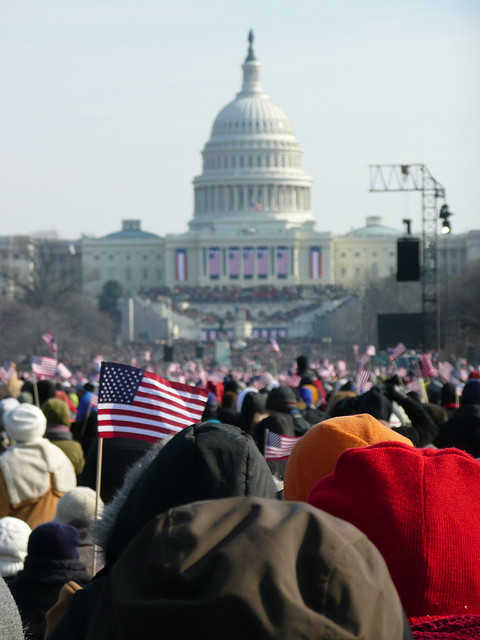 Photo of the US capital building during the 2008 inauguration